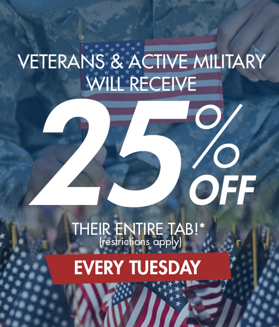 25% Off Veterans and Active Military
