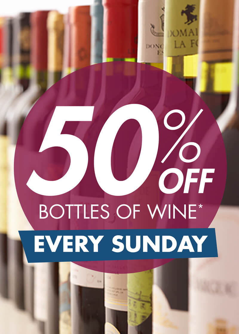50% OFF Wine Sunday